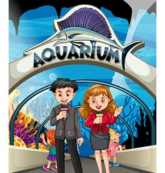 Reporters doing story at the aquarium vector image