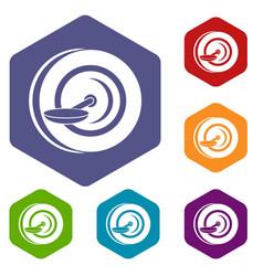 Self balancing wheel icons set hexagon vector