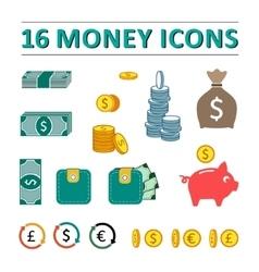 Sixteen money icons set vector