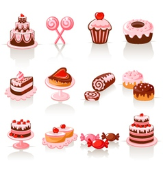 Sweet pastry icons vector