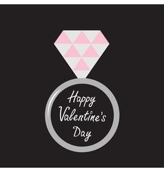 Wedding silver ring with diamond valentines day vector