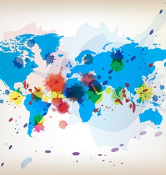 World map and watercolor vector