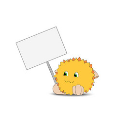 yellow cartoon character holding a poster vector image vector image