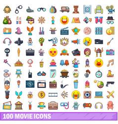 100 movie icons set cartoon style vector