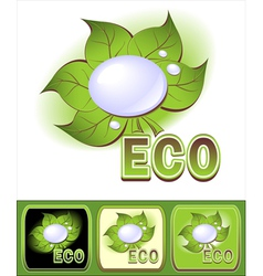 Set ecologic icons with leaves and water droplets vector