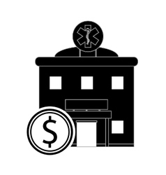 Hospital and coin icon vector