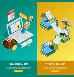 E-learning vertical banners set vector