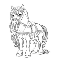 Cute horse harnessed to a saddle outlined picture vector