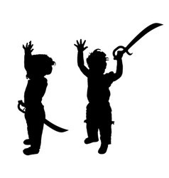 Child with sword set silhouette in black vector