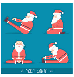 Santa claus doing yoga isolated for vector