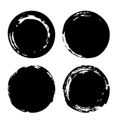 Hand painted ink blobs set vector