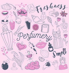 Cosmetics and perfumery freehand doodle vector