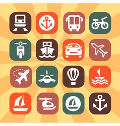 Color transportation icons vector