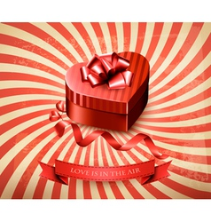 Heart-shaped gift box on retro background vector