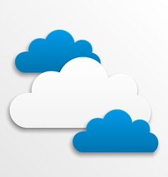 Set paper clouds isolated on white background vector image