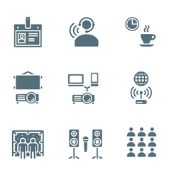 Solid grey color conference concept icons vector