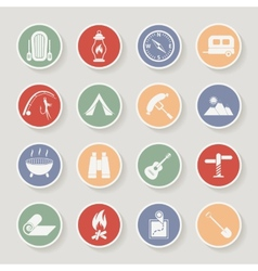 Round camping icons set icons vector image