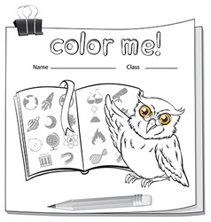A worksheet with an owl and a book vector