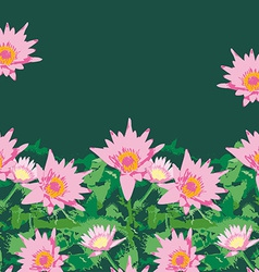 Background with pink lotus flowers and green vector image
