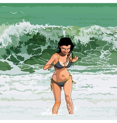 Cartoon happy girl runs out of the sea vector