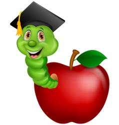 Worm wearing a graduation cap crawling out of an a vector