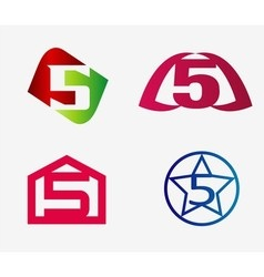 Number five logo template abstract icon set vector