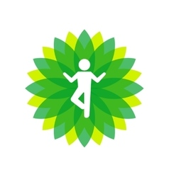 Yoga lotus green icon with people silhouette vector