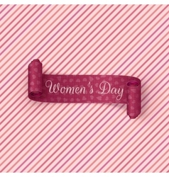 Pink scroll ribbon international womens day vector