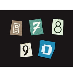 Colorful newspaper cut numbers set vector