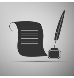Quill Pen with inkwell and paper scroll icon vector image