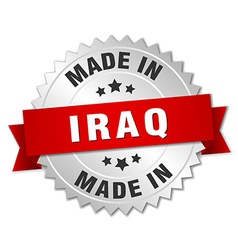 Made in iraq silver badge with red ribbon vector