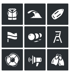 Set of rescue on water icons life jacket vector