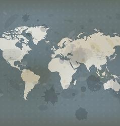 antique world map and ink splatter vector image