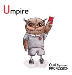 Alphabet professions owl letter u - umpire vector