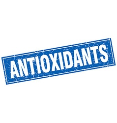 Antioxidants blue square grunge stamp on white vector