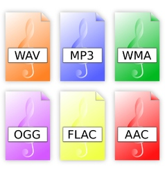 Audio format files icons vector