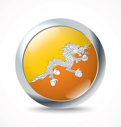 Bhutan flag button vector image