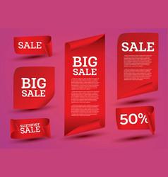 big sale banner set ribbon vector image