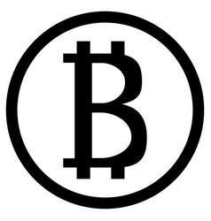 bitcoin icon black white currency vector image