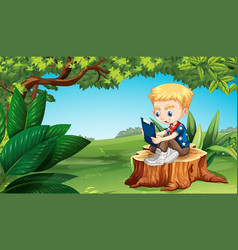 boy reading in the park vector image vector image