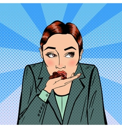 Business woman eating chocolate stress at work vector