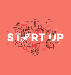 digital red startup vector image