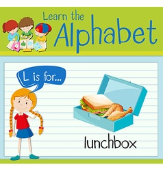 Flashcard alphabet l is for lunchbox vector