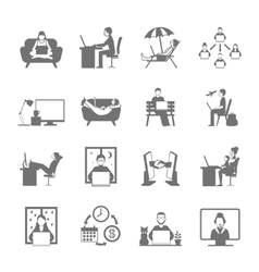 Freelance flat icon set vector