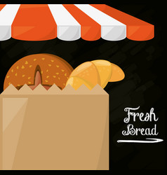Fresh bread shop food paper bag poster vector