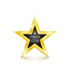 Golden star on white background poker concept vector