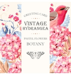 Greeting card with hydrangea vector