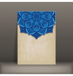 Grunge paper card with blue floral circular vector