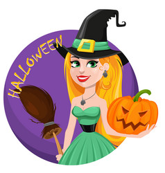 Halloween greeting card beautiful lady witch vector
