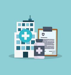 hospital bulding clipboard bottle medicine vector image